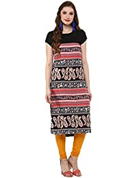 Kurta For Women - Straight Printed - PolyCrepe - Short Sleeves - Black And Pink Color Round Neck - Long Kurta...