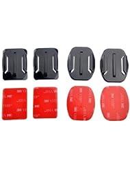 Goliton® 2 courbé et plat montures avec 3M double face pastilles adhésives pour GoPro Hero + 4/3 / 3/2 / 1- Noir