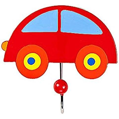 Gancho individual perchero de pared la ropa hecho de madera con forma de coche rojo para la habitación de los