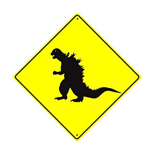 Eugene49Mor Dinosaurier Godzilla Xing Crossing Achtung Gefahr Funny Neuheit Road Wand Décor Diamant Metall Aluminium 30,5x 30,5cm Schild