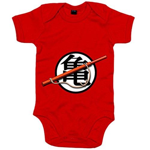Body bebé Bola de Dragón bastón y logo Goku - Rojo, 6-12 meses