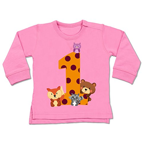 Shirtracer Geburtstag Baby - 1. Geburtstag Waldtiere - 18-24 Monate - Pink - BZ31 - Baby ()