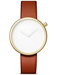 Bulbul Ore Unisex Quartz Watch with White Dial Analogue Display and Brown Leather Strap O05