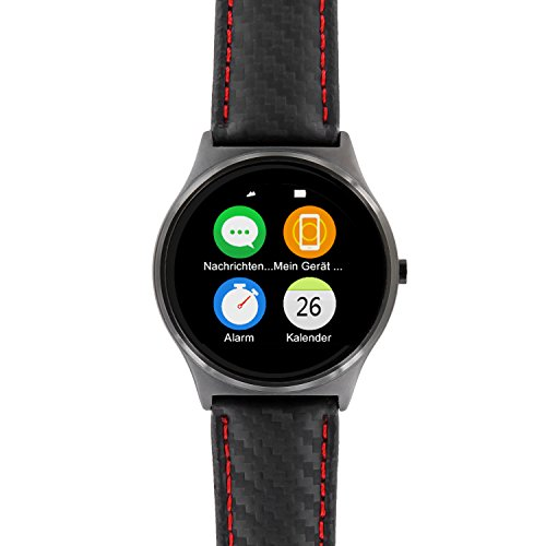 X-WATCH QIN XW PRIME II carbon red black ultra slim smart watch for Android and iOS – elegant premium men's smart watch with genuine leather smart watch strap