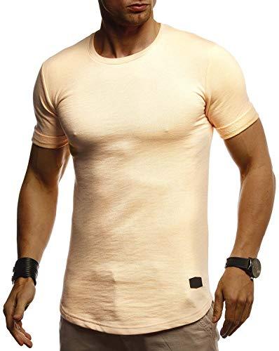 LEIF NELSON Herren Sommer T-Shirt Rundhals Ausschnitt Slim Fit Baumwolle-Anteil   Cooles Basic Männer T-Shirt Crew Neck   Jungen Kurzarmshirt O-Neck Kurzarm Lang   LN8311 Orange Small