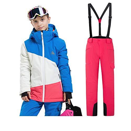 Sunbaby Skianzug Kinder Jacken und Hosen Winter Ski Set Winddicht wasserdicht Skianzüge (Mädchen Blau+Rose, 160/12-14 Jahre) - Für Mädchen-größe Ski-jacken 14