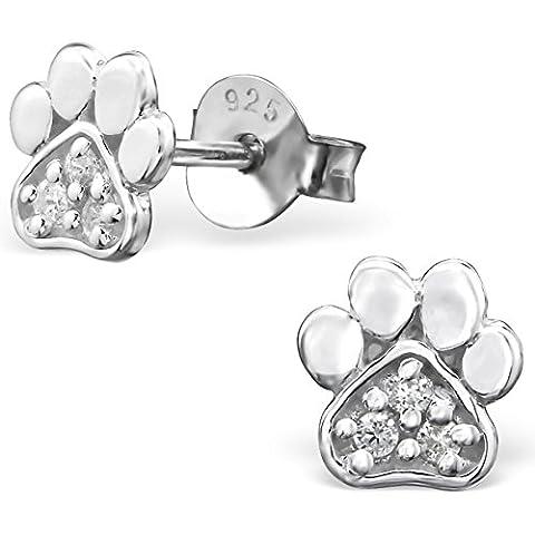EYS JEWELRY® Damen-Ohrringe Hunde-Pfoten Tatzen 6 x 6 mm Zirkonia 925 Sterling Silber kristall-weiß im Schmuck-Etui Ohrstecker Stecker
