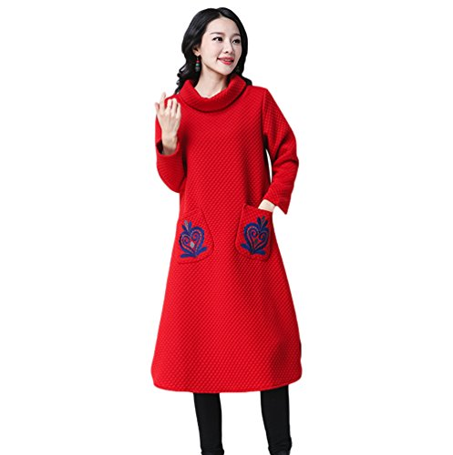 NiSeng Femme Pull Casual Broderie épaissie Robe Robe Pull Rétro Longue Col Haut Loose Chaud Robe Rouge