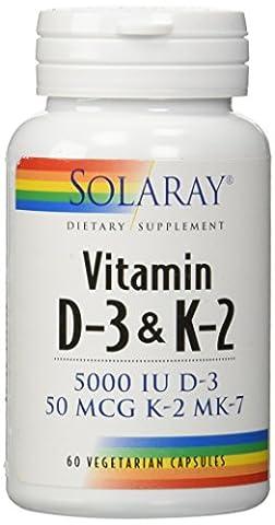 Vitamine K2 - Solaray - Vitamine D-3 & K-2 60