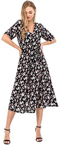 f69ae7c9c Wantdo Vestido de Blaya Bohemia Mujeres Maxi Largo Talla Grande Negro  XX-Large