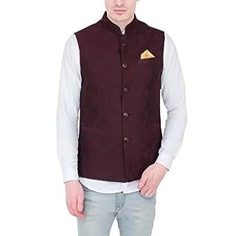 Latin Ferrante Waist Coat-Nehru Jacket-Jawahar Jacket Wine Color Silk Jacquard For Men