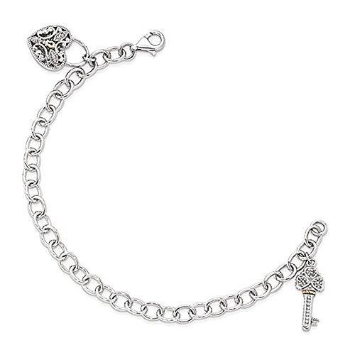 Sterling Silver w / 14k Diamond Heart Lock and Key Bracciale