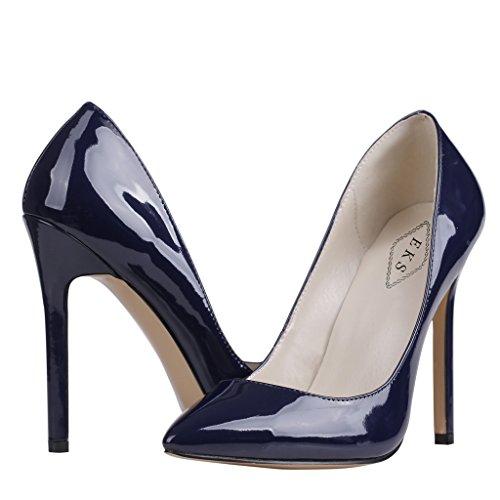EKS Damenschuhe Spitz High Heels Pumps Blau-C-Lackleder