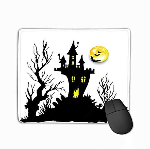 ween Castle Horror Night Silhouette Lifelike Rectangle Rubber Mousepad 11.81 X 9.84 Inch ()