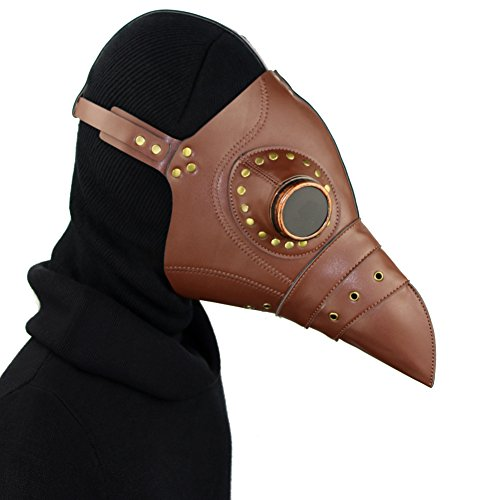 Cestlafit Steampunk Pest Vogel Maske von Retro mittelalterlichen Doktor Gothic Vintage Kostüm, Halloween Party Cosplay Dekoration Zubehör, Schwarz, (Pest Kostüm Mittelalterliche Doktor)