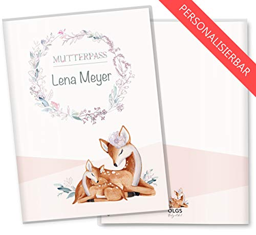 Mutterpasshülle 3-teilig Rehkitz schöne Geschenkidee zur Schwangerschaft Schutzhülle personalisierbar mit Namen (Mutterpass personalisiert, Stella)