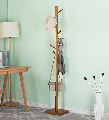 ZEMIN Kleiderständer Bodenständig Mantel Gestell Massivholz Einfach 8 Schräge Haken Quadratische Basis Log Farbe 30x30x175cm (Farbe : Holzfarbe) - Log-mantel
