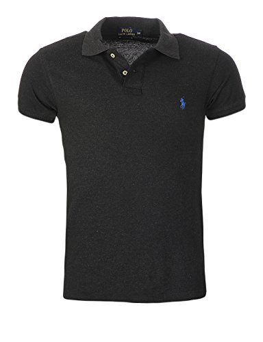 Polo-pony-shirt (RALPH LAUREN POLO HERREN POLOSHIRT SMALL PONY CUSTOM FIT S-M-L-XL-XXL, Original, Outletware, Größe:L, Farbe:Anthrazit blaues Pony)