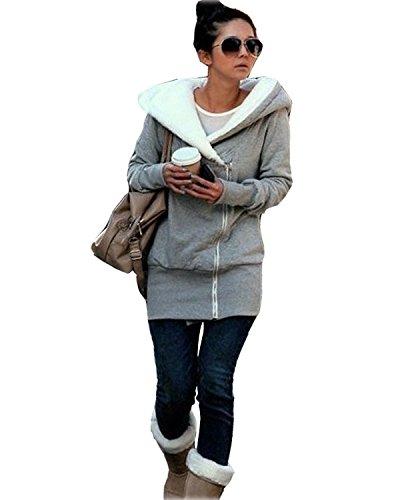 Minetom Damen Herbst Winter Jacke Hooded Mantel Kapuzen Pullover Sweatshirts Pulli(Grau - Damen Mantel Pullover