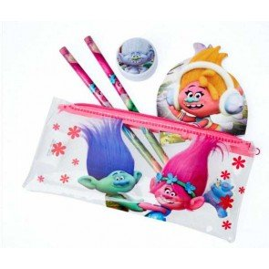 Official Licensed Trolls 5 Piece Stationery Set 2 Pencils Eraser Sharpener & Note Pad & Pencil Case by Trolls