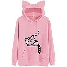 MEIbax Plus Tama?o Mujeres Gato Manga Larga Sudadera con Capucha Jersey Tops de Impresi