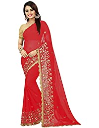High Glitz Fashion Women's Paper Mirror With Four Side Heavy Jhalar Border Georgette Sari With Blouse Piecs