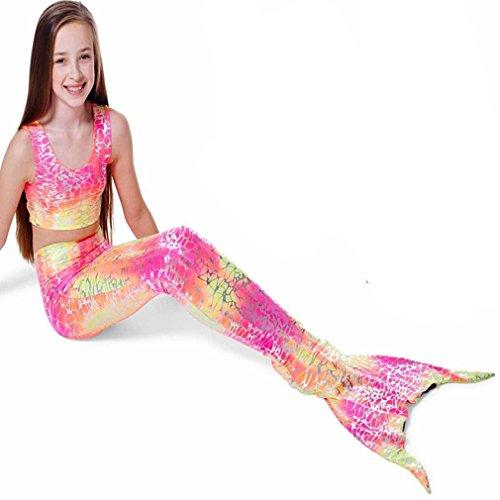 Hengsong Mädchen Meerjungfrau Schwanz Badeanzug 3tlg Bademode Schwimmanzug Bikini Set (140cm, Rose+Gelb)