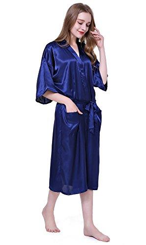 HonourSport Damen Morgenmantel aus Satin langer Kimono Bademantel Nachtwäsche einfarbig mit Taschen Dunkelblau