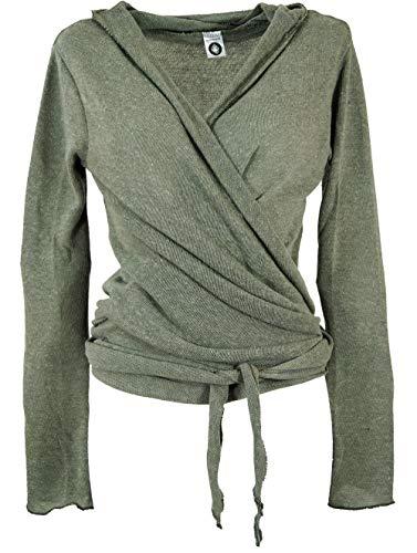 Guru-Shop Wickelshirt, Baumwollstrick Pullover, Damen, Helles Khakigrün, Viskose, Size:38, Pullover, Longsleeves & Sweatshirts Alternative Bekleidung