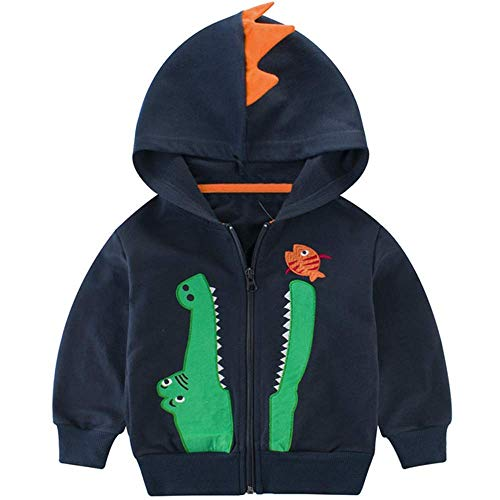 Jungen Fleecejacke Little Hand Kapuzenpullover Kinder Winddicht Dinosaurier-Stickere, Dunkelblau, EU98(2-3 Jahre)=Tag 90 -
