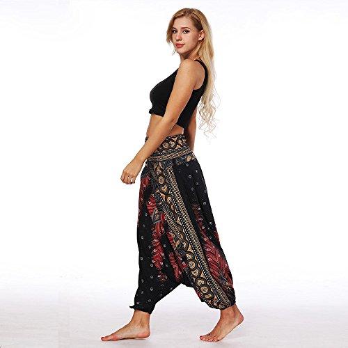 Nuevo!! Pantalones De HaréN De La India Danza Pantalones De Yoga Pantalones Hippie Boho Mujeres Desgaste Playa Fiesta Mono (Free Size, Negro#2)