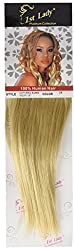 1st Lady Silky Straight Natural European Weft Human Hair Extension with Premium Blend Weave, Number 24, Light Golden Blonde, 10-Inch