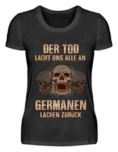 Shirtee Walhalla Odin Thor Wikinger Nordmann Viking Totenkopf Grunge Geschenk - Damenshirt -XXL-Schwarz