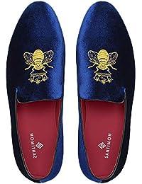 Mocasines Hombre Mocasín Zapatos de Vestir Moda Terciopelo Casual Slip-on Zapatillas para Hombre Bordado Negro/Azul/Rojo…