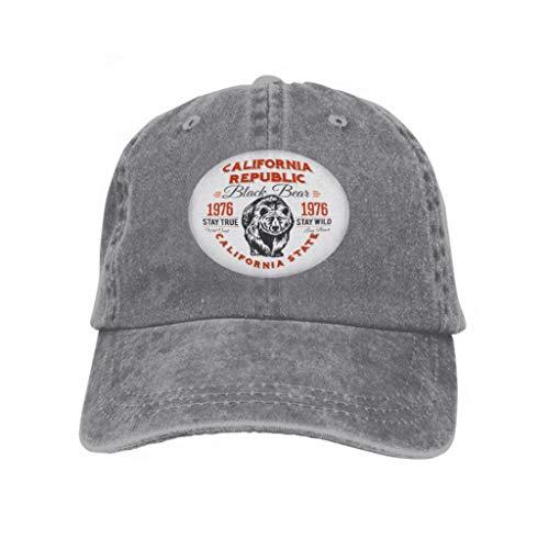 Baseball Caps Trucker Caps Bones Hip Hop Hats for Men Women California Republic Vintage Typography Grizzly Bear Print gr Gray