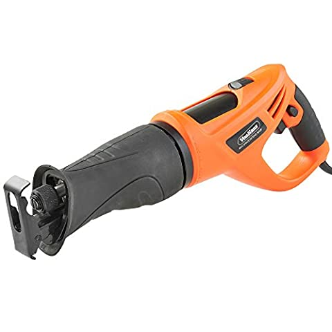 VonHaus 710W 115mm Reciprocating Saw Vari Speed Corded Recip Sabre – Rotating Handle – Multi Use – 2 Blades Wood Metal Cutting –