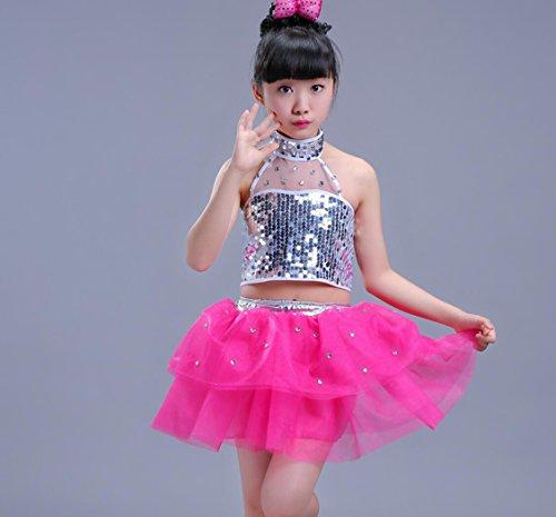 Kinder Tanz Kostüme Kinder Pailletten Jazz Kostüme Mädchen moderne Tanz Kleidung rot / blau / schwarz (6 Größen) , 110cm , (Kostüme Jazz Tanz Modern)