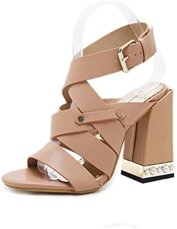 Angel love beauty Damen Ankle Lace up Peep Toe Hochhackige Sandalen Block Chunky Heels (Color : Apricot Colorö