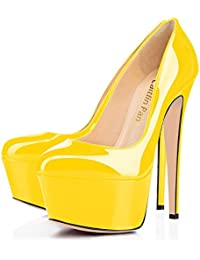 Caitlin Pan Mujer Tacones de Moda Super High Heels Slip On Stiletto Plataforma Doble Cerrado Zapatos