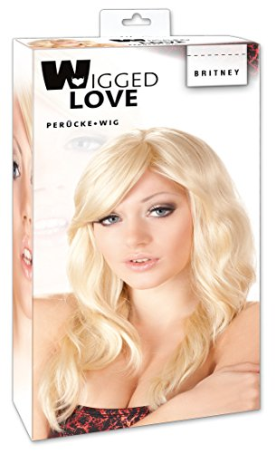 Wigged Love Perücke blond, gewellt - schulterlange, hellblonde Perücke für Frauen, erotische Perücke mit leichten Wellen, - Italienische Kostüm Frauen