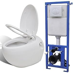 Festnight Inodoro Suspendido Pared con Cisterna Oculta – Color de Blanca Material de Cerámica, 41x59x39 cm