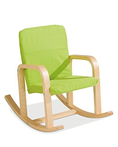 Home4You Kinder-Schaukelstuhl Kindersessel Kinderstuhl Bernie 2 | Apfelgrün | Holz | Baumwolle