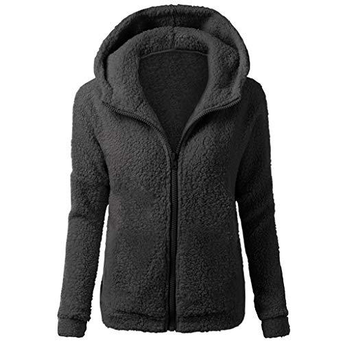 VECDY Damen Winterjacke Mode Jacken Frauen Mantel Kapuzenpullover Mantel Winter Warme Wolle Reißverschluss Mantel Baumwollmantel Outwear Elegantes Sweatshirt