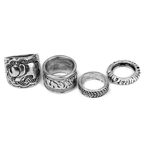 LEORX Conjunto de 4 anillos Vintage pack Ring Set - talla patrón (ant