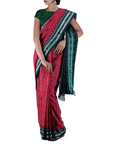Unnati Silks Women's Pure Handloom Sambalpuri Cotton Ikat Saree (Pink-Green)