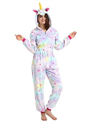 oamore Einhorn Pyjama Cartoon Tiere Pyjama Cosplay Kostüme Flanell Jumpsuits Unisex Erwachsene Kinder Nachtwäsche Party Kostüme (Star-Zipper, L)