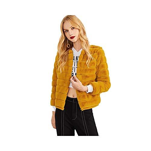 GUQI Damen Jacke Ingwer Moderne Dame Streetwear Wochenende Lässige Faux Pelz Solide Mantel Elegant...