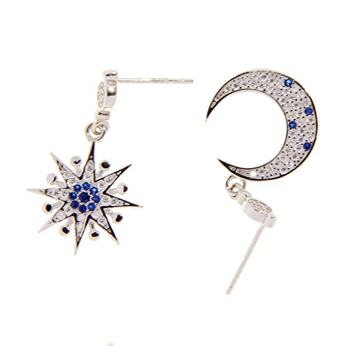 ELECTROPRIME Korean Style Sterling Silver Star Moon Diamond Asymmetric Dangle Stud Earrings