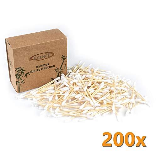 ECENCE Bastoncillos bambú algodón 200 Piezas 100%