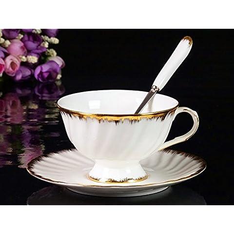 BeiBeiLove la Fine Bone China Tea Cup Set di piattino e cucchiaio, in ceramica, 7 oz Bianco